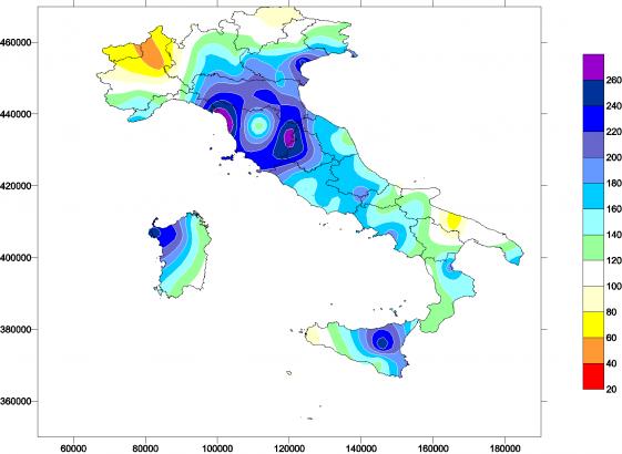 RR_anom - Carta dell'anomalia (scostamento percentuale rispetto alla norma) delle precipitazioni totali del mese di gennaio
