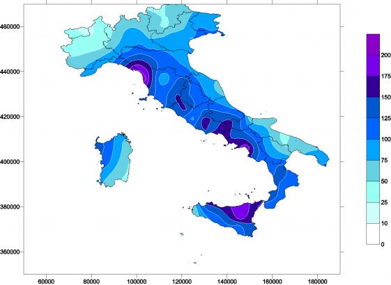 RR_gen - Carta delle precipitazioni totali del mese di gennaio (scostamento percentuale rispetto alla norma)