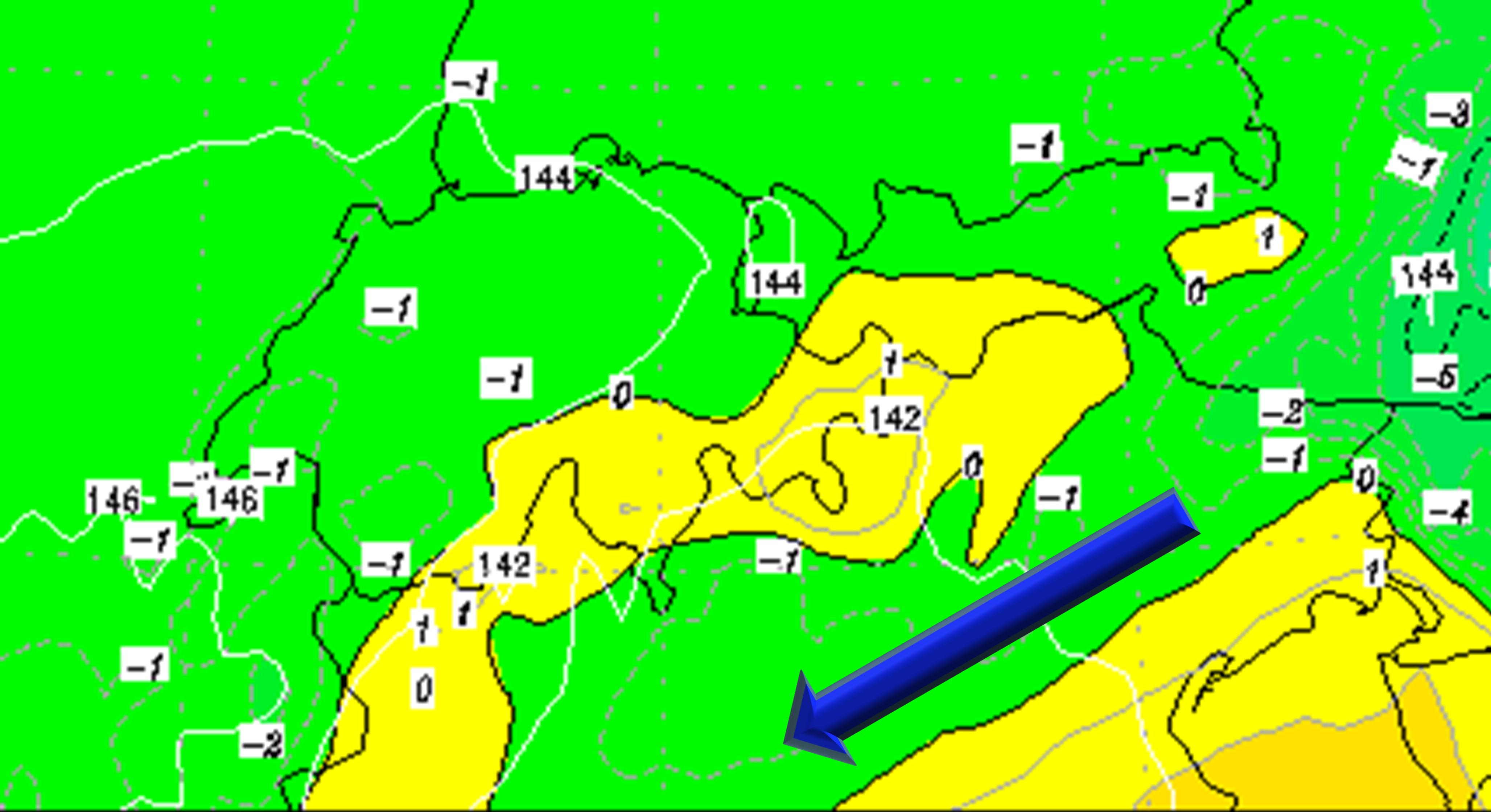 Fig. 4. GFS: isoterme a 850 hPa, Sabato 2 Gennaio 21, 21Z. Aria piú fresca é richiamata sulla Valpadana. Fonte: www.wetterzentrale.de