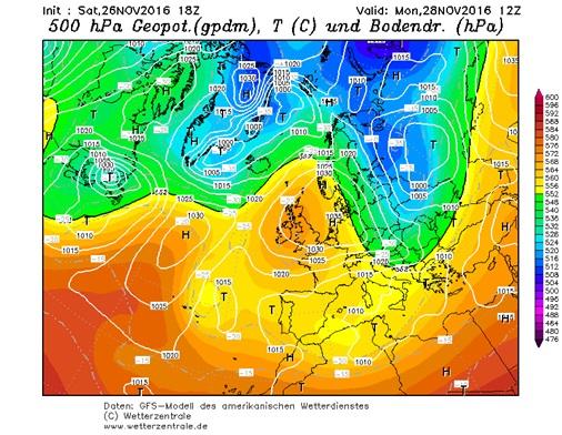 Fig. 1. GFS, Lunedì 28 Novembre: Geopotenziale a 500 hPa e pressione al suolo. Fonte: www.wetterzentrale.de